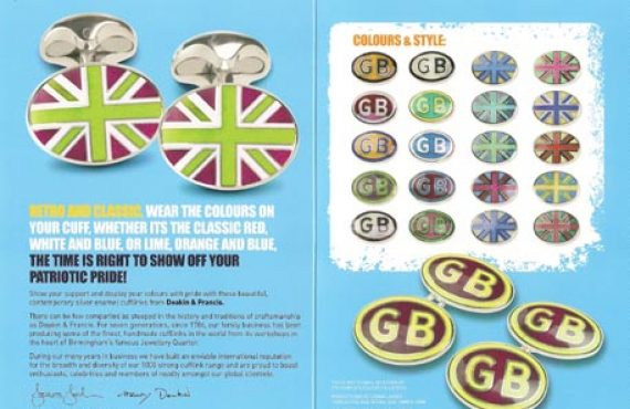 New funky colour Great British cufflinks