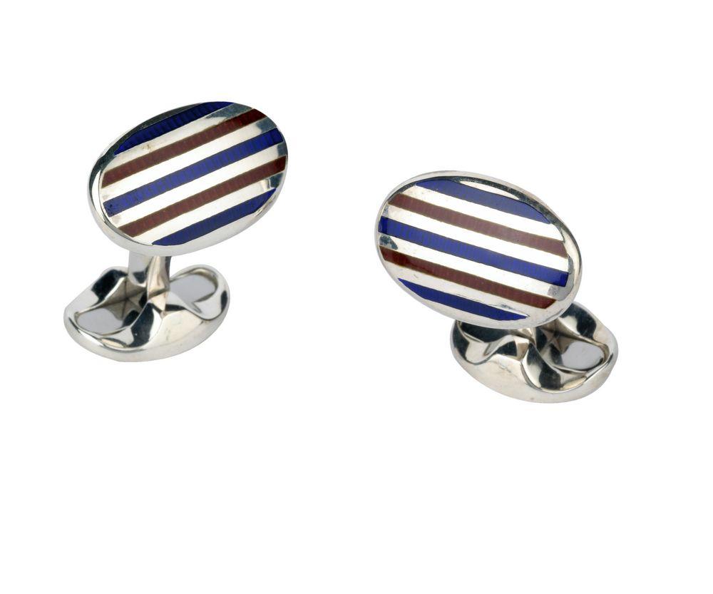 Vitreous enamel striped cufflinks