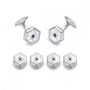 Sterling Silver Hexagonal Dress Stud Set - Mother-of-Pearl & Sapphire