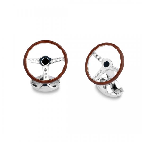 Sterling Silver Vintage Steering Wheel Cufflinks