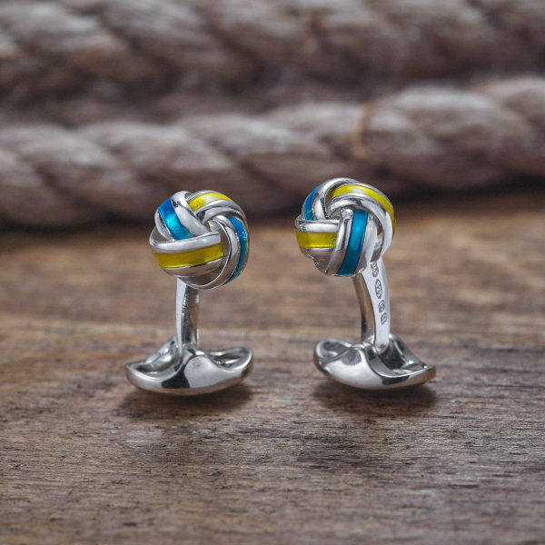 Sterling Silver Blue and Yellow Enamel Knot Cufflinks