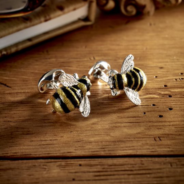 Sterling Silver Bumble Bee Cufflinks