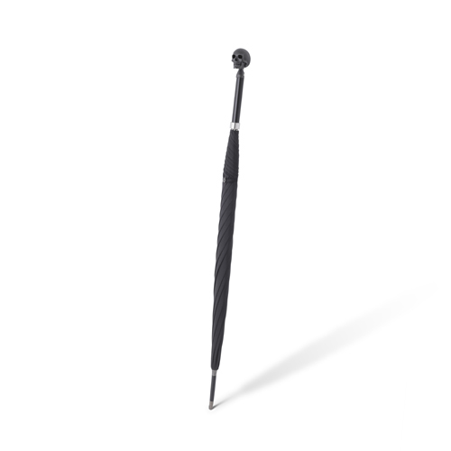 Large Black Umbrella With Skull Head Handle In Matte Black Finish