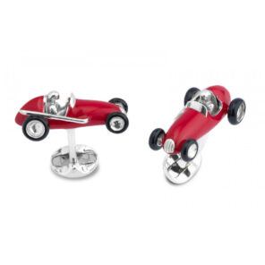 Sterling Silver Red Racing Car Cufflinks
