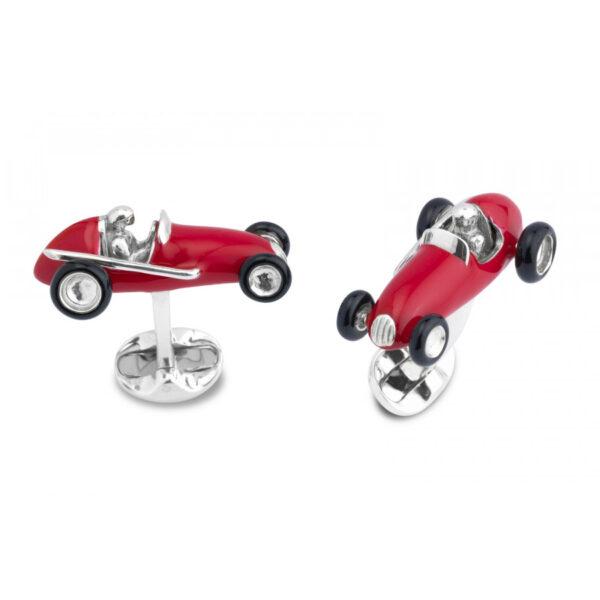 Sterling Silver Red Racing Car Cufflinks