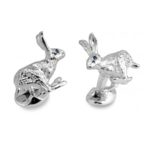 Sterling Silver Hare Cufflinks With Sapphire Eyes