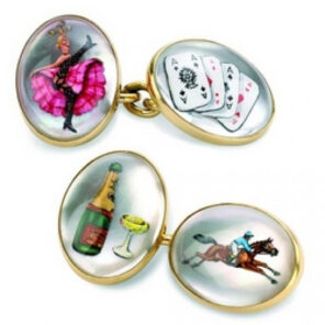 """18ct Gold Hand-Painted """"Road to Ruin"""" Crystal Cufflinks"""