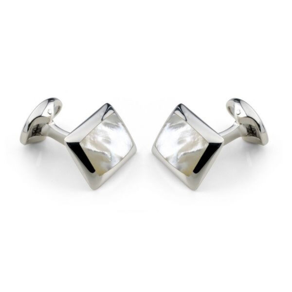 Sterling Silver Oblong Cufflinks with White Mother-of-Pearl Inlay