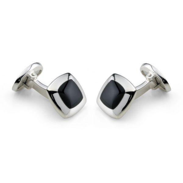 Sterling Silver Cushion Cufflinks with Onyx Inlay