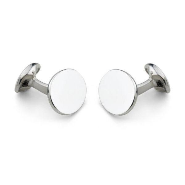 Sterling Silver Plain Oval Cufflinks