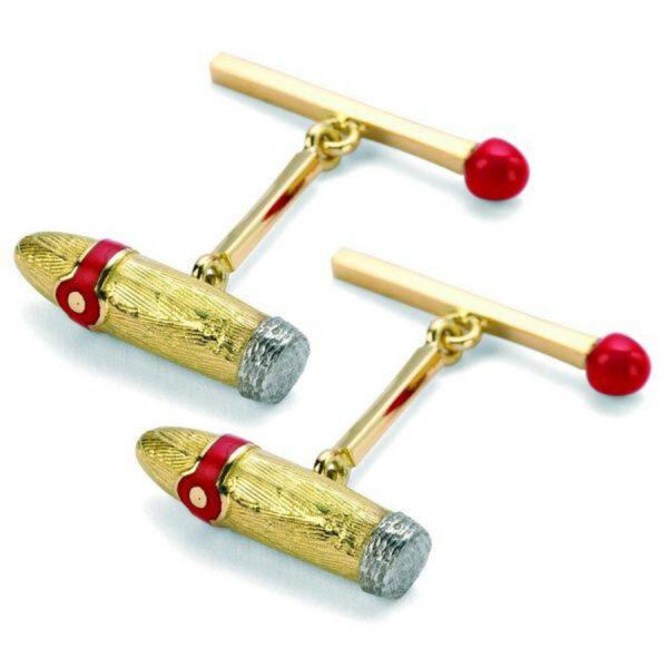 18ct Yellow Gold Cigar and Matchstick Cufflinks