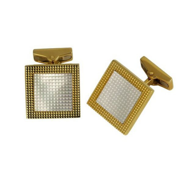18ct Gold Square Hobnail Cufflinks with Mother-of-Pearl Inlay