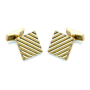 18ct Gold Square Engine Turned Cufflinks