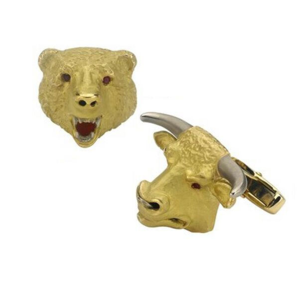 18ct Gold Bull and Bear Cufflinks with Ruby Eyes