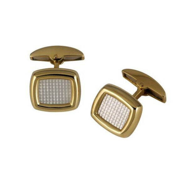 18ct Yellow Gold Cushion Cufflinks with Mother-of-Pearl