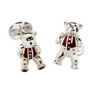 Sterling Silver Moveable Red Teddy Bear Cufflinks