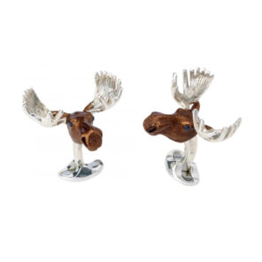 Sterling Silver Brown Moose Head Cufflinks