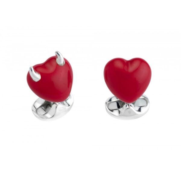 Sterling Silver Red Enamel Good & Bad Heart Cufflinks