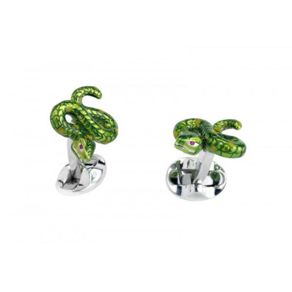 Sterling Silver Green Snake Cufflinks
