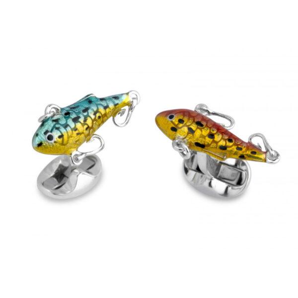 Sterling Silver Fish Bait Cufflinks