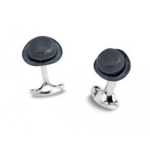 Sterling Silver Bowler Hat Cufflinks