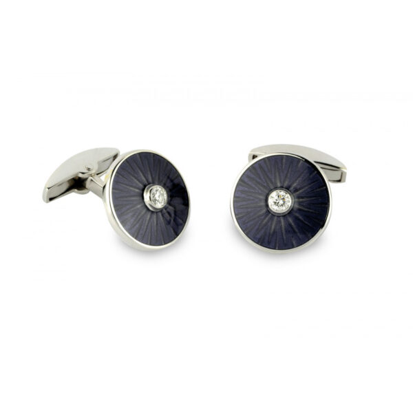 18ct White Gold Enamel Cufflinks with Diamond Centre