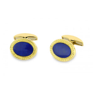 18ct Gold Wreath Cufflinks with Oval Stone Centre