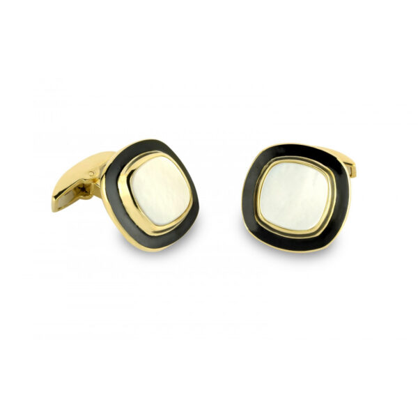 18ct Gold Cushion Shaped Cufflinks with Enamel and Mother-of-Pearl