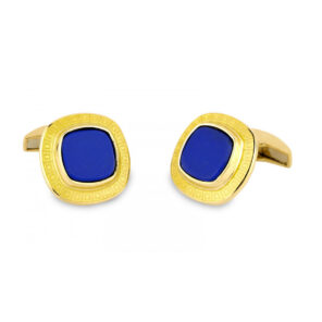 18ct Gold Cushion Shaped Cufflinks with Enamel and Lapis Lasuli