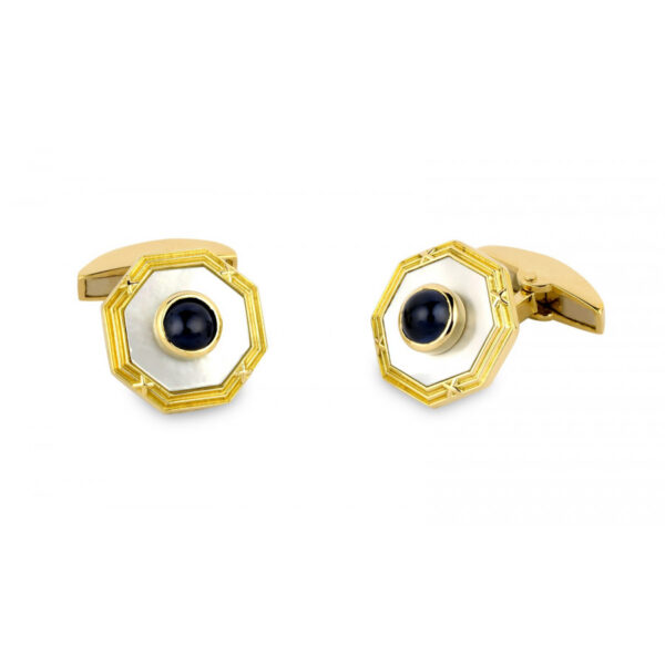 18ct Gold Octagonal Cufflinks with Mother-of-Pearl and Large Sapphire