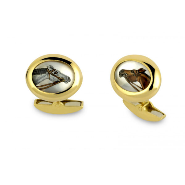 18ct Gold Hand-Painted Crystal Horse Head Cufflinks