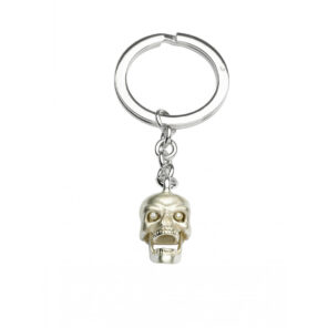 Sterling Silver Skull Keyring with Diamond Eyes