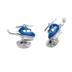 Sterling Silver Blue Helicopter Cufflinks