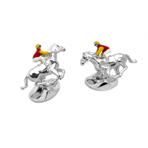 Sterling Silver Red and Yellow Horse & Jockey Cufflinks
