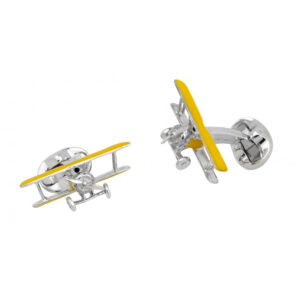 Sterling Silver Yellow Biplane Cufflinks with Rotating Propeller