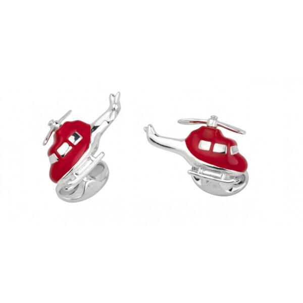 Sterling Silver Red Enamel Helicopter Cufflinks