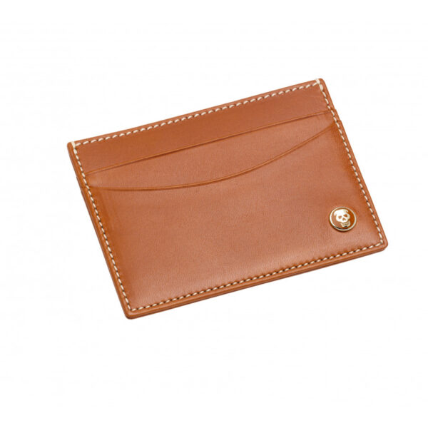 Leather Flat Card Case in Tan
