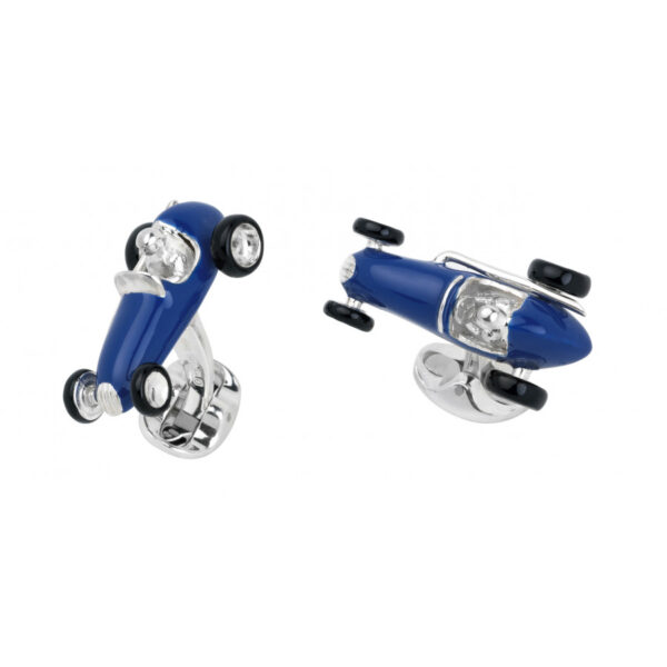 Sterling Silver Blue Racing Car Cufflinks