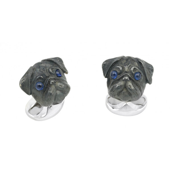 Sterling Silver Oxidised Pug Head Cufflinks