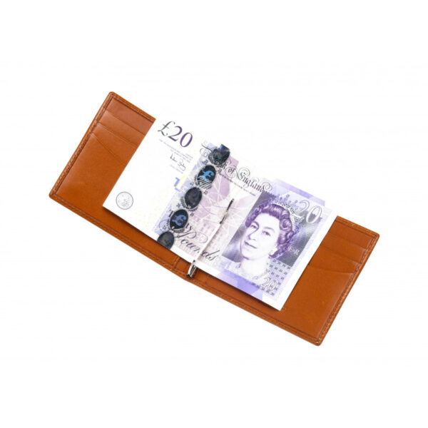 Leather Money Clip Wallet in Tan