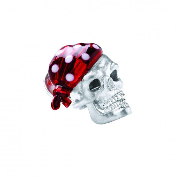 Sterling Silver Red Skull Bandana Lapel Pin