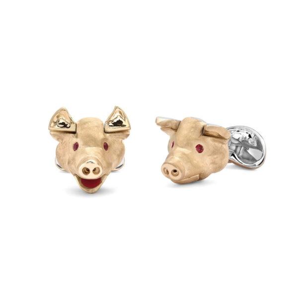 Sterling Silver Pig Head Cufflinks