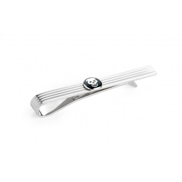 Sterling Silver Engine Turned Tie Slide with Enamel Skull