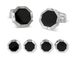 Octagonal Onyx Dress Stud Set
