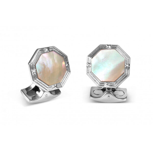 Octagonal Cufflinks with Mother-of-Pearl