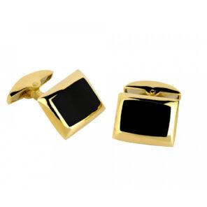 18ct Yellow Gold Cushion Cufflinks with Onyx