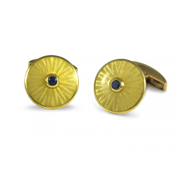 18ct Gold Round Cufflinks with Sapphire Centre