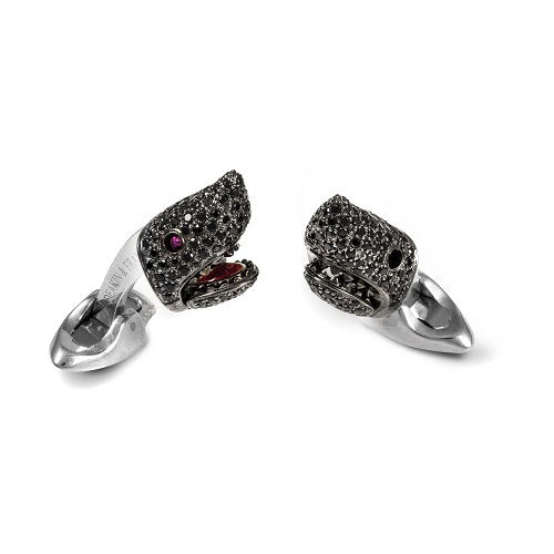 Sterling Silver Black Spinel Shark Head With Ruby Eyes