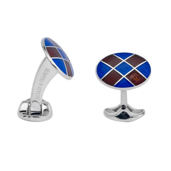 Sterling Silver Royal Blue & Maroon Red Patterened Enamel Cufflinks