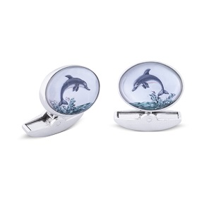 18ct White Gold Hand-painted Dolphin Crystal Cufflinks